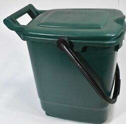 8L Kitchen Compost Storage Caddy Food Waste Recycling Bin Handle Green $17.81