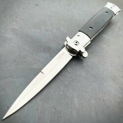 9quot; Black Tactical Stiletto Spring OPEN Assisted Folding Pocket Knife Blade NEW $13.95