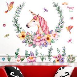 Fairy Unicorn Wall Stickers Decal Flower Removal Girls Kids Room Removable Decor $6.21