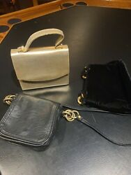 Small Purse lot of 3 Gold Black and Leather Style Make Offer $9.00