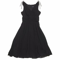 Connected Apparel Women#x27;s Sleeveless V Neck Ruched Black Cocktail Dress Size 10 $27.99