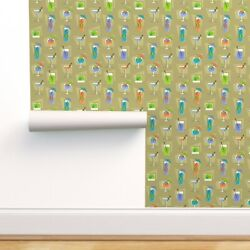Removable Water Activated Wallpaper Retro Novelty Cocktail Martini Glasses Mai $7.00