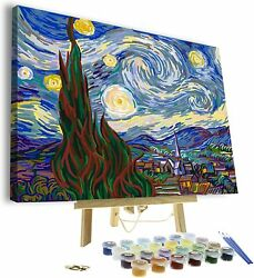 Paint by Numbers for Adults DIY Canvas amp; Wooden Easel Stand Starry Nights $29.99