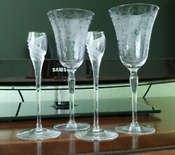 Antique Crystal Wine Glasses 2 and Set of 2 Crystal Candle Holders $12.99