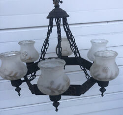 Vintage GOTHIC REVIVAL Cast Iron Brass Hanging CHANDELIER Antique Light Fixture $175.00