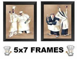 5x7 Fat Chef Pictures Cooks Kitchen Decor Wall Hangings Bistro Italian Wine $13.99