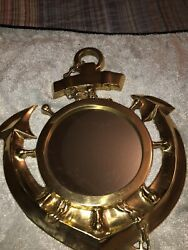 Vintage Solid Brass Anchor Mirror 13#x27;#x27; Nautical Anchor Brass Mirror Wall Hanging $38.00