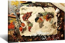iKNOW FOTO Canvas Wall Art World Map Made up of Spices Kitchen Artwork Modern Ki $129.99