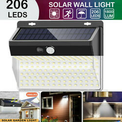 206 LED Outdoor Garden Solar Lamp PIR Motion Sensor Light Security Flood Lamp US