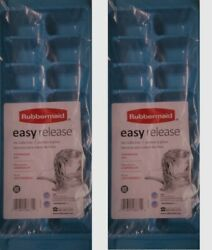 RUBBERMAID BLUE EASY RELEASE ICE CUBE TRAY 2867B SET OF 2 NEW $7.98