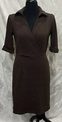 Womens Emma Michele Brown Purple Dress Size S Tweed Look $12.99