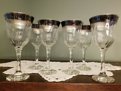 Italian Decor Crystal 8 Oz. Wine Glasses Silver Greek Key Set of 6 Made in Italy $54.99