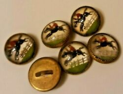 ANTIQUE GLASS RACING HORSE BUTTONS LOT OF SIX $55.00