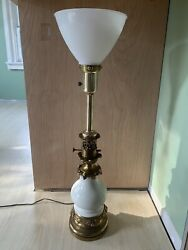 Mid Century STIFFEL Brass and Porcelain Table Torchiere 25quot; Lamp With Shade $117.00