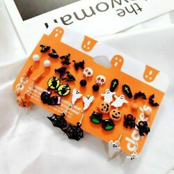 20 Pairs Christmas Halloween Stud Earring Set Women Girl Bat Pumpkin Lamp Spider $3.76