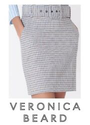 VERONICA BEARD Melissa Skirt Beige Blue SIZE 16 Houndstooth w Belt NWT $395 $170.00