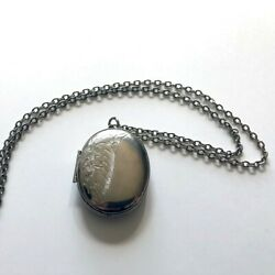 VINTAGE silver locket necklace 1 3 4quot; w floral engraving and 24quot; chain $12.50