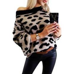 Women Ladies Leopard Loose Baggy Sweater Casual Party Long Sleeve Jumper Tops US $36.38