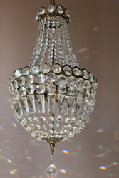 Purse Vintage Crystal Chandelier Antique Lighting Empire Lamp Hollywood Light GBP 675.00