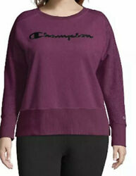 NEW Champion Women#x27;s Plus Crew Neck Long Sleeve Logo Sweatshirt Purple Size 3X $17.00