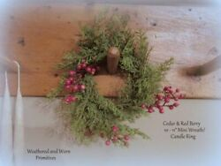 Primitive Country 10quot; Faux Cedar amp; Red Berry Christmas Candle Ring 3.5quot; Center $9.99
