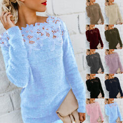 Women Winter Warm Sweater Tops Ladies Sexy Lace Jumper Pullover Plus Size S 5XL $19.28