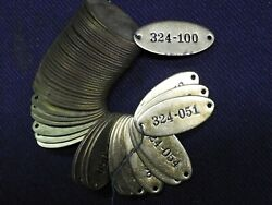 25 Vintage Brass Tags Locker Tags Sequential Industrial Steampunk Unused $20.00