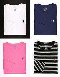 NWT Polo Ralph Lauren Women#x27;s Long Sleeve Pony Crew Neck T Shirt Tee MSRP $45.00 $39.50