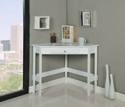 Kings Brand Furniture White Finish Wood Corner Desk With Drawer $125.99