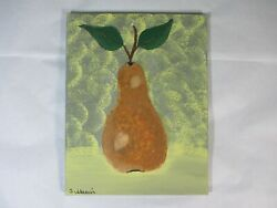 Kitchen Themed Vintage Pear Art Acrylic Hand Painted 12x12 $29.95