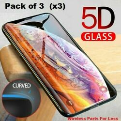 FULL Coverage Tempered Glass Screen Protector For iPhone X XS 11 12 Pro MAX 3 PK $4.98