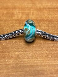Authentic Trollbeads Teal And Gold Design Unique Ooak Bead $62.00