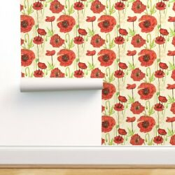 Removable Water Activated Wallpaper Red Poppies Poppy Modern Meadow May Blossom $7.00