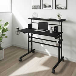 Rolling Laptop Desk Table Techni Mobili Height Adjustable Desktop Shelf ... $153.34