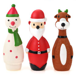 Chiwava 3 Pack Small Christmas Dog Toys for Dogs Latex Squeaky Santa Puppy Play $9.88