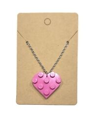 Custom Pink Heart Lego Necklace Stainless Steel With Decorative Parts Included $8.39