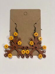 Lego Earrings Fall Leaf With Decorative Parts Included Seasonal Handmade New $9.99