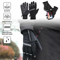 Windproof Cycling Gloves Full Finger Winter Touch Screen Warm Mittens Waterproof $12.99