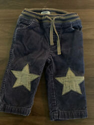 Mini boden Corduroy Star Knee Patch Ribbed Waist Pants Navy grey 6 12 Months GUC $10.00