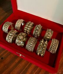 Old Antique Set of 10 Oman Silver 925 Napkin Rings $235.00
