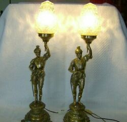 Soldier. Old Brass Pair Table Lamps 57 cm. $600.00