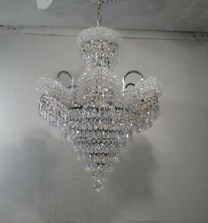 Vintage Chandelier 9 Light Chrome and Crystal Wedding Cake Beaded Shades $995.00