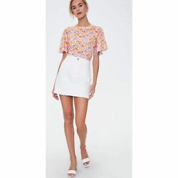 F21 Floral Bell Sleeve Tee Multicolor Watercolor Feminine Boho Size Large NEW $14.00