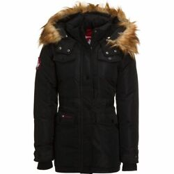 Canada Weather Gear Womens Black Winter Jacket size Small with Faux fur hood $37.36