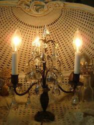 GORGEOUS VINTAGE FRENCH GIRANDOLE PRISMS CANDELABRA TABLE CHANDELIER **ON SALE** $599.99