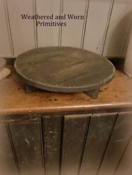 Primitive Country Round 11quot; Distressed Black Wood amp; Waxed Table Riser $22.99