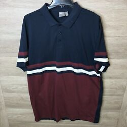 Asos Mens Plus Size 3XL Long Navy Burgundy Sleeve Panels and Contrast Body Polo $14.99