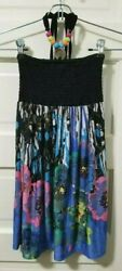 Girls Beach Angels BOHO Dress 8 10 M Medium Black Pink Halter Tie Dye Floral EUC $14.99