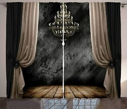 Ambesonne Classical Curtains Ball Room Chandelier Look Illustration in Dark Ton $148.49