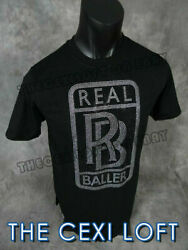 Mens Extended Scoop Bottom T Shirt REAL BALLERS Silver Bk COLORED STONES Hip Hop $19.99